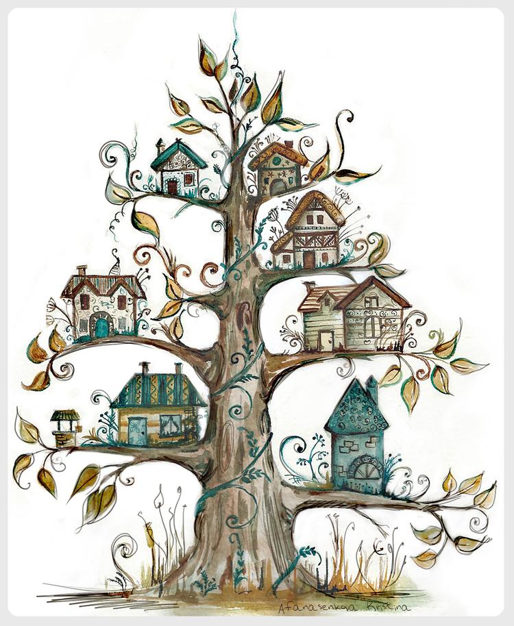 Рисунок сказочных деревьев