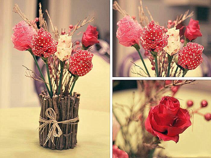 Цветы из ткани своими руками в вазу 24
