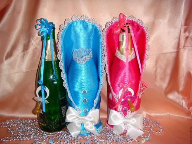 Украшение бутылки съемным украшением своими руками