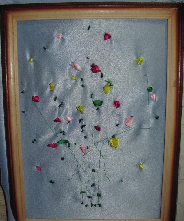 Изнанка при вышивке лентами