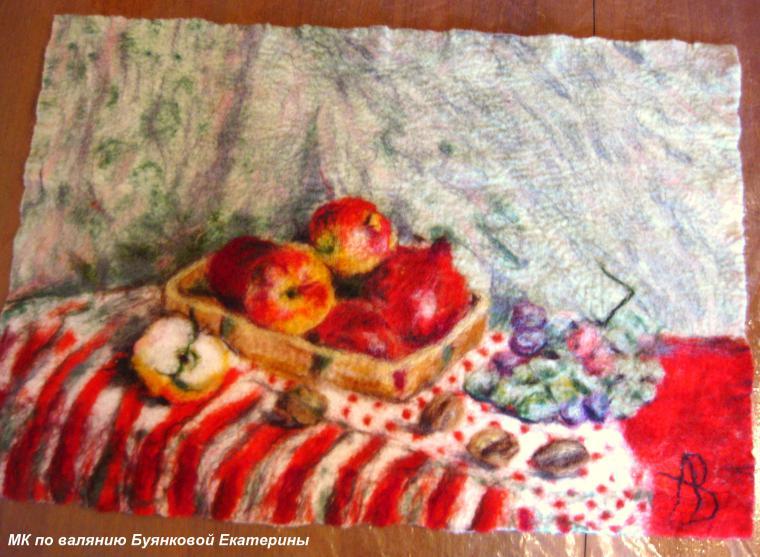 Мастер-класс по мокрому  валянию картин из шерсти - шерстяная акварель, фото № 3