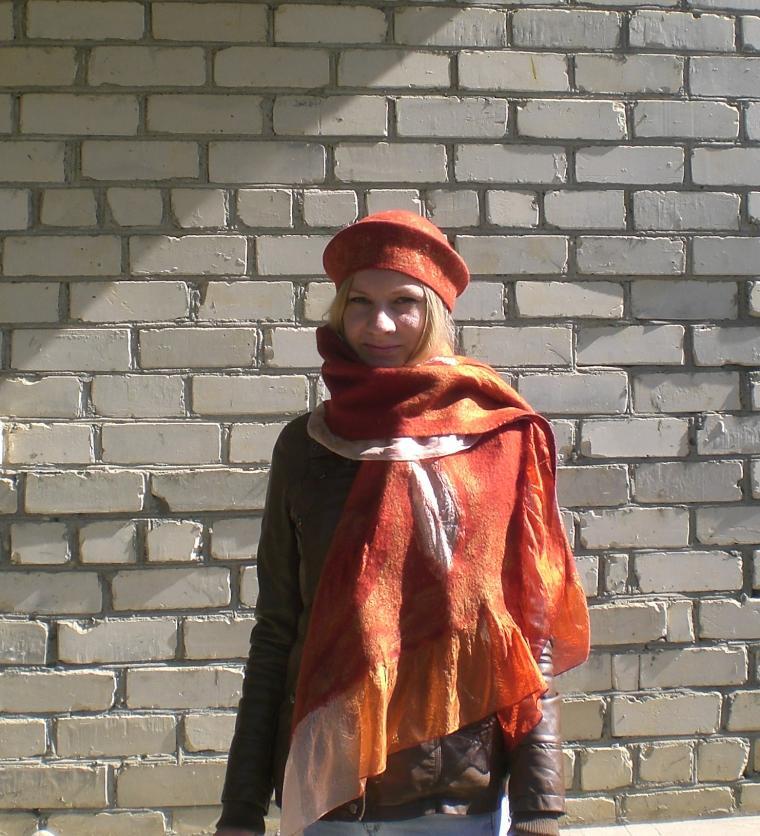 валяние, валяные аксессуары, шляпка валяная, шарф валяный, женская шляпка, шляпка для девушки, нуновойлок