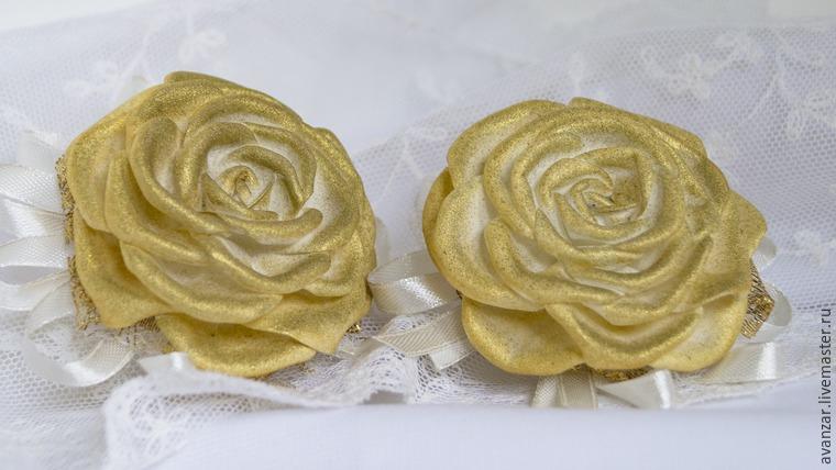 Создаем заколки с кружевом и золотыми розами из фоамирана, фото № 23