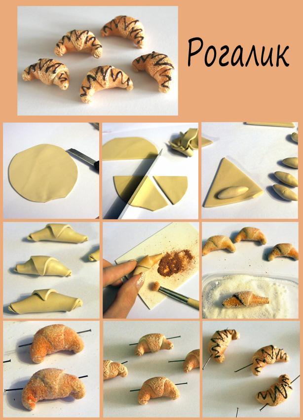 кулинарная миниатюра, кукольная еда, бусины, рогалик, полимерная глина, пластика