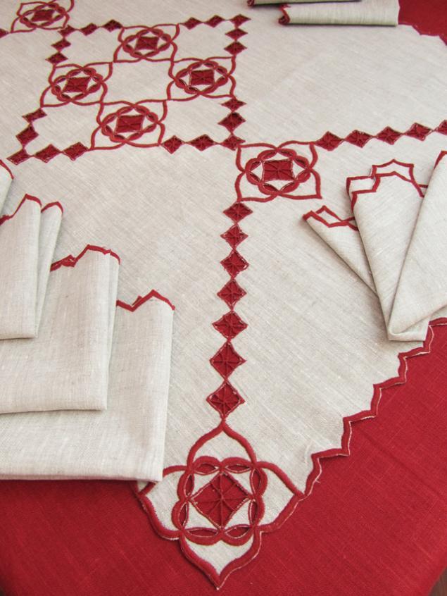столовый комплект, салфетка с вышивкой, скатерть с кружевом, подарок на свадьбу