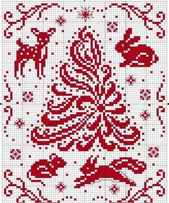 Узор новогодний для вышивки