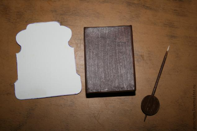 Часы-ходики из спичечного коробка в кукольный дом, фото № 3