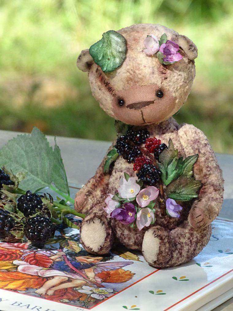 мишка тедди, мишка с цветами, бордо