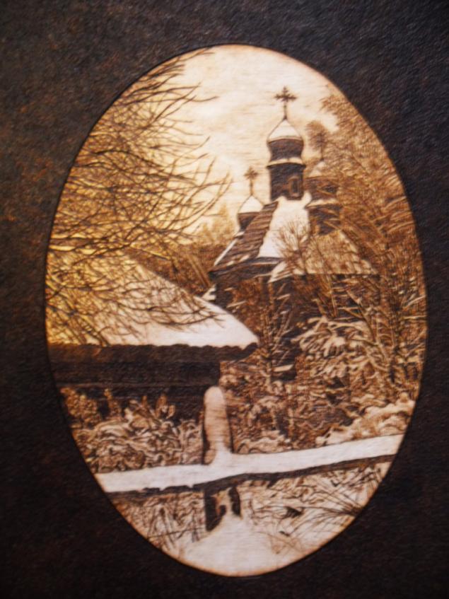 пирография, картина, произведение искусства, выжигание подереву, зима, церковь, подарок, для дома