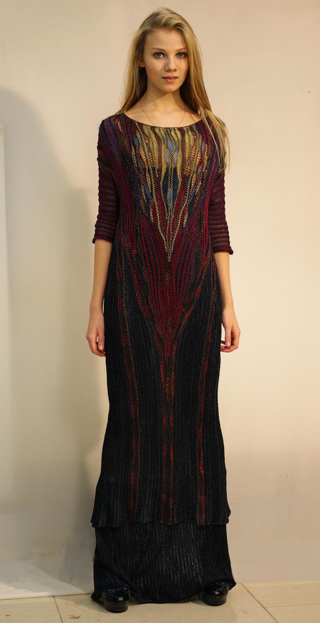 елена кондрина, авторский трикотаж, высокая мода, дизайнерская одежда, вязаное платье, бордо, черный, золотой, шелковый трикотаж