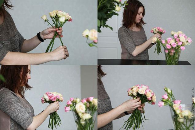 Как собрать букет из цветов своими руками пошагово по спирали
