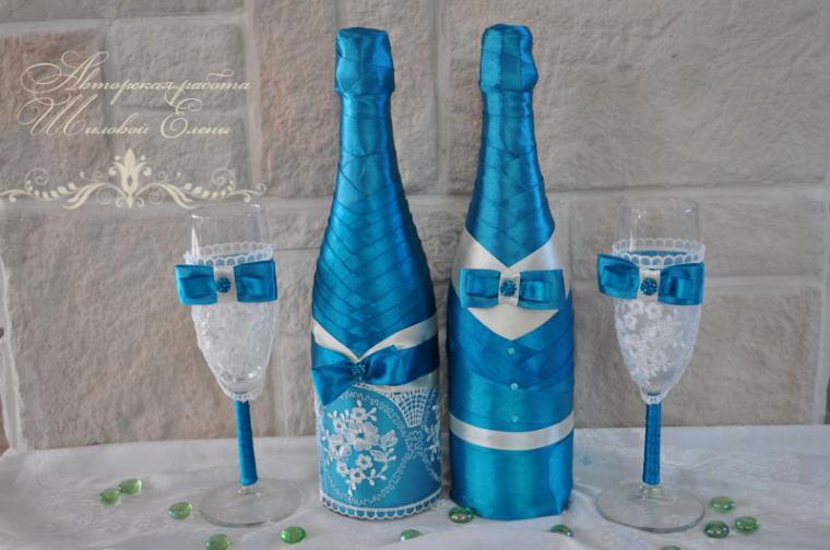 Украсить шампанское на свадьбу лентами своими руками