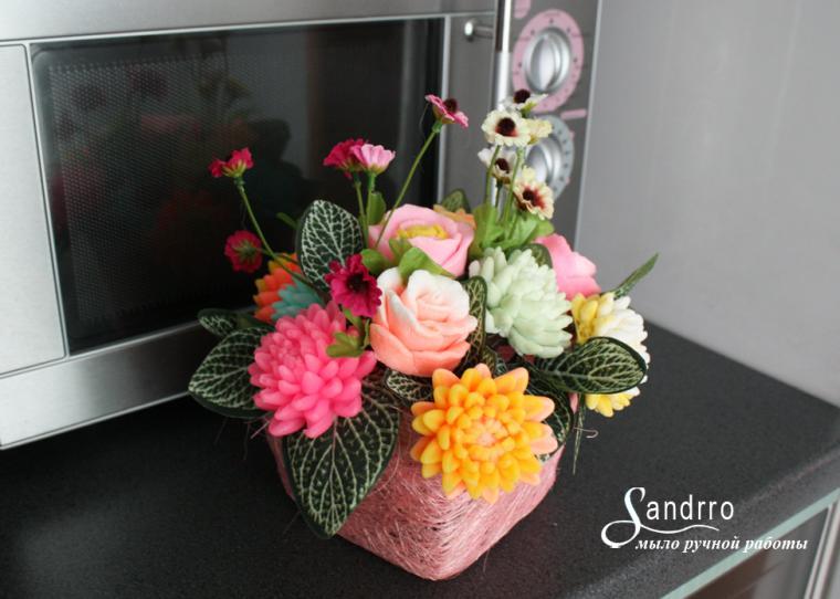 украшение интерьера, цветы, мыло в подарок, подарок для девушки, композиция, букет цветов, дерево