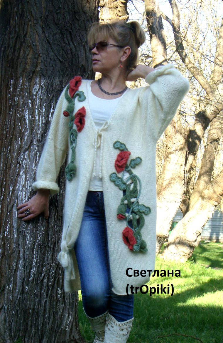 пальто вязаное, маки
