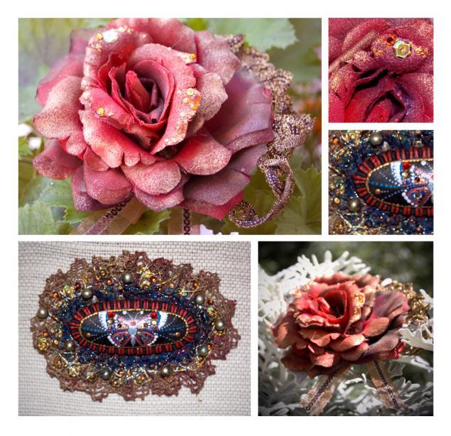 брошь, сваровски, брошь-цветок, текстиль, мода, аксессуары, кружево
