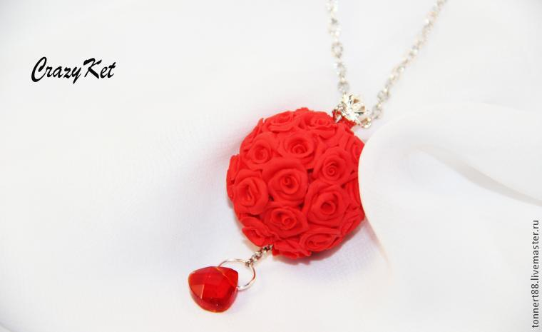 полимерная глина, цветы, шар из роз
