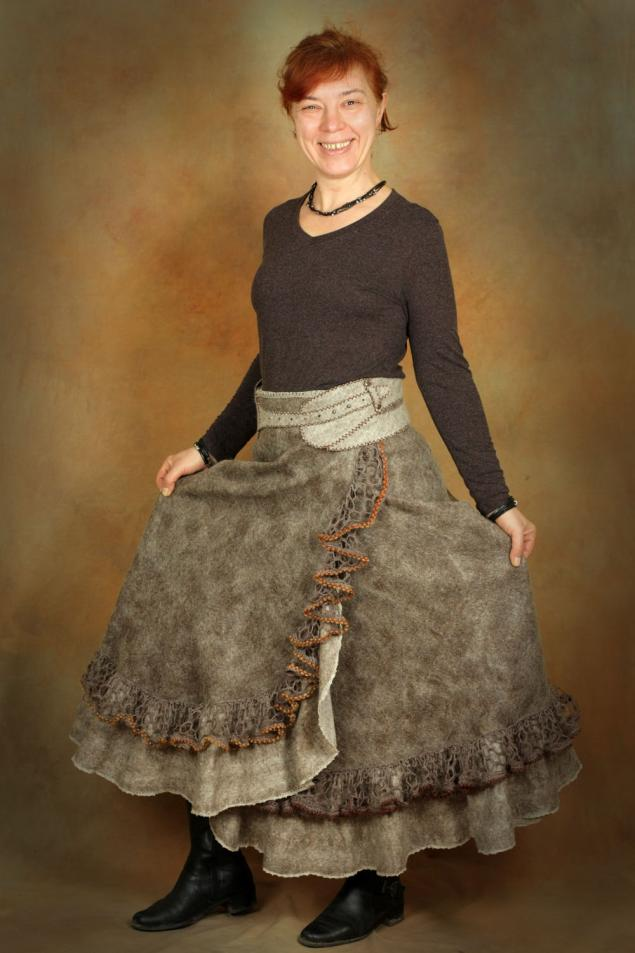 Валяная юбка с запАхом- похвастушки - Ярмарка Мастеров - ручная работа, handmade