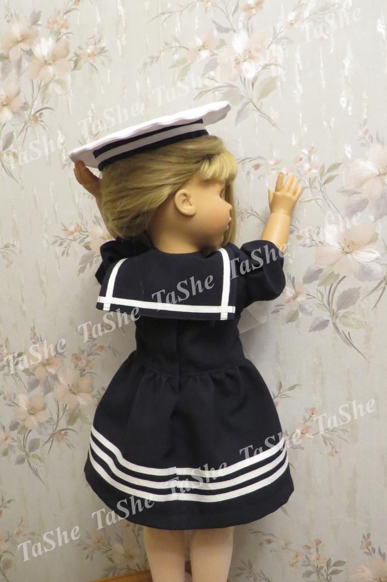 платье для куклы, матросский стиль