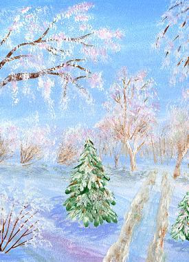 картина в подарок, зимняя сказка