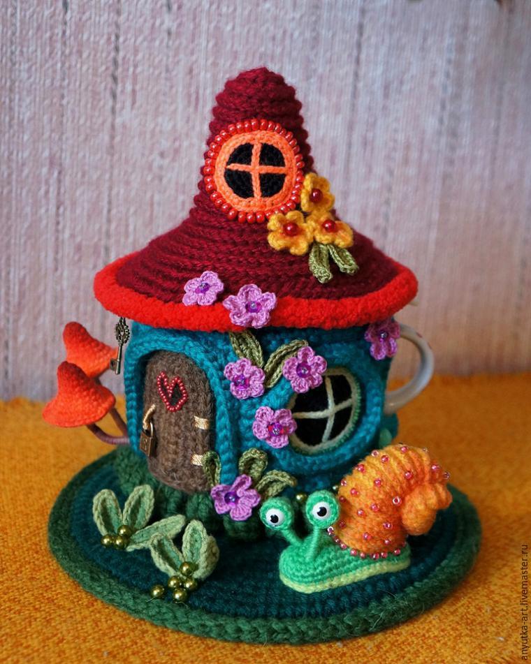 Вязание крючком домика-грелки на чайник
