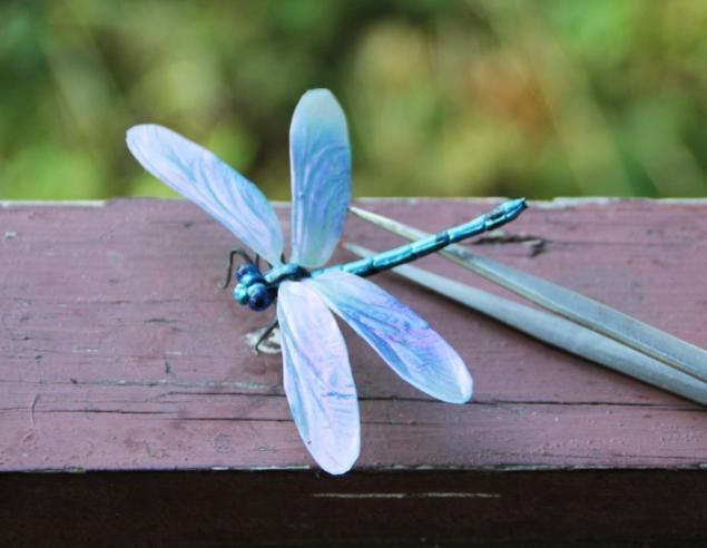 синий, фимо, летнее украшение