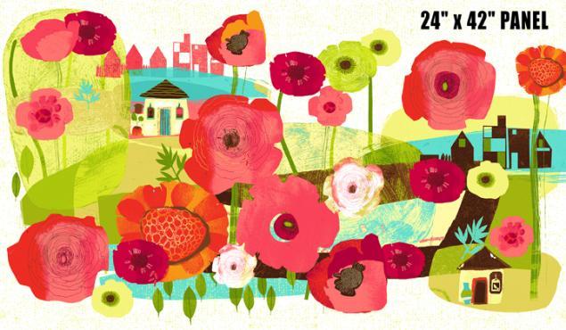 цветочная композиция, пэчворк, розовый