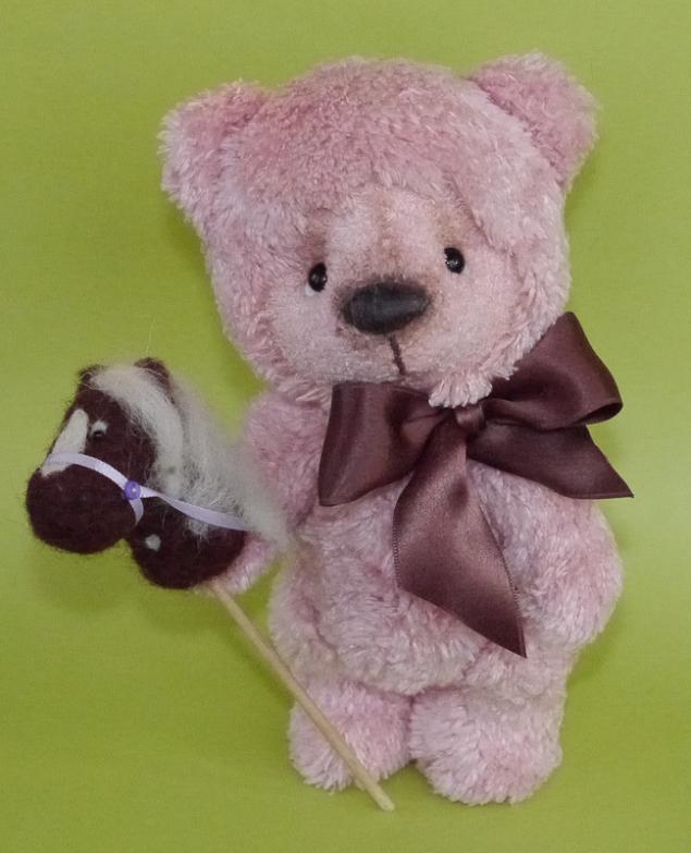 мишка тедди, японский хлопок, розовый, лошадка
