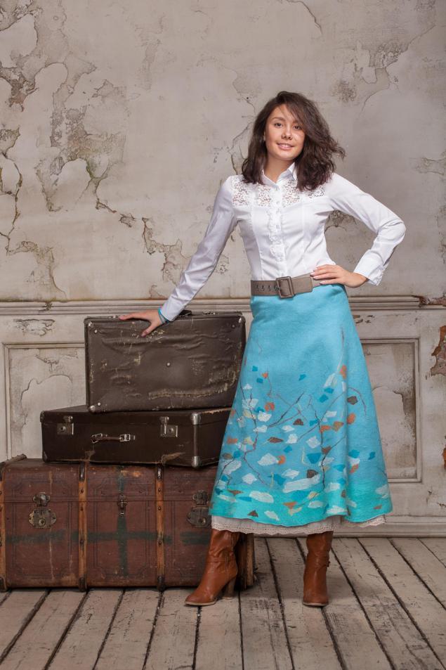 валяная юбка, голубая юбка