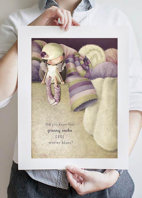 Warm Socks Fairy A3 Print