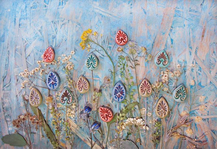 лето в алматы, цветы и небо, керамика, впроцессе