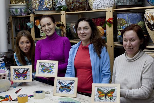 стеклянная мозаика, подарок своими руками, бабочка