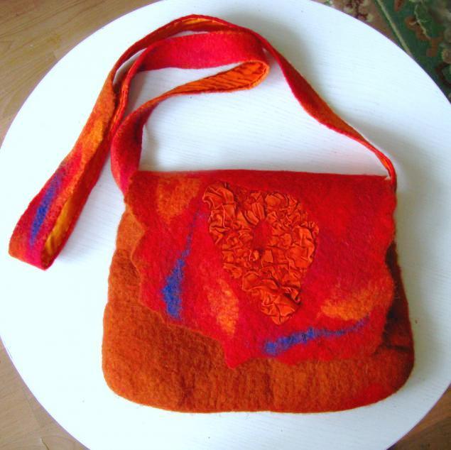 шерсть, валяние, шелк, нуно-войлок, нуновойлок, огненный, сумка, сумка женская