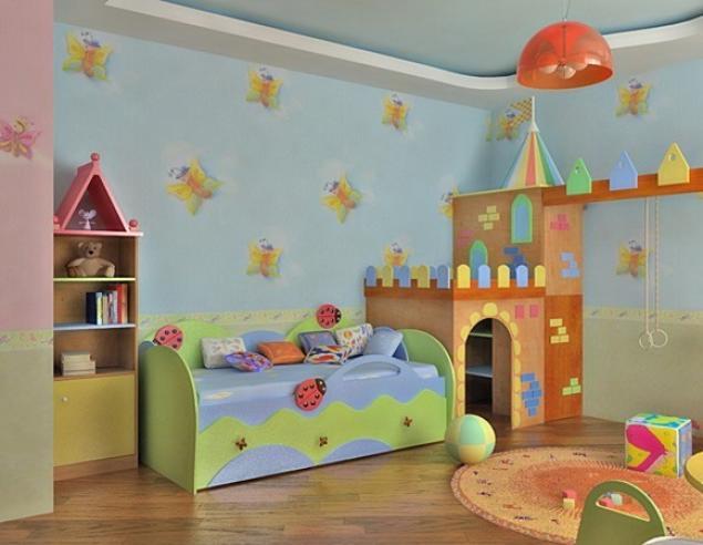 Дизайн для детской прямоугольной комнаты