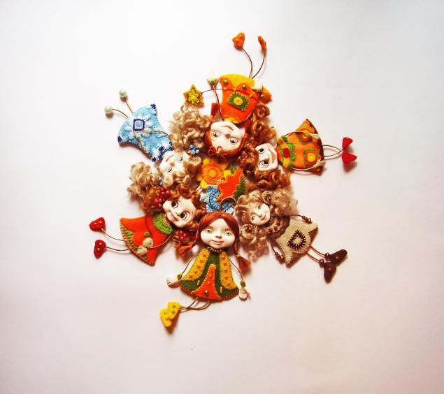 куклы, брошь, маленькая куколка, оригинальный подарок
