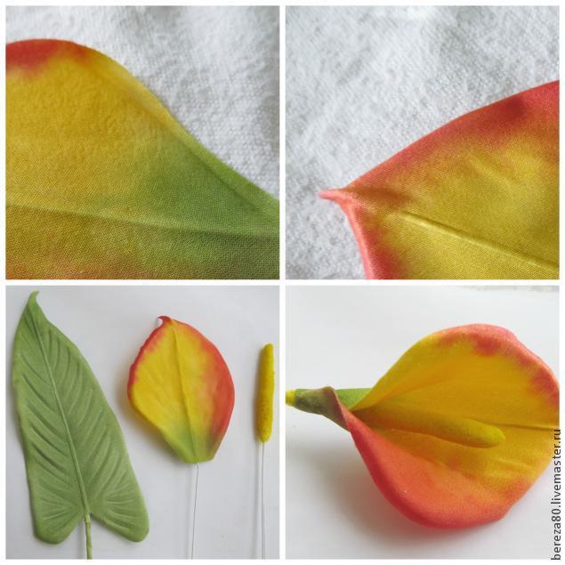 Создание простого и очень красивого цветка &8211 каллы из шелка, фото № 8