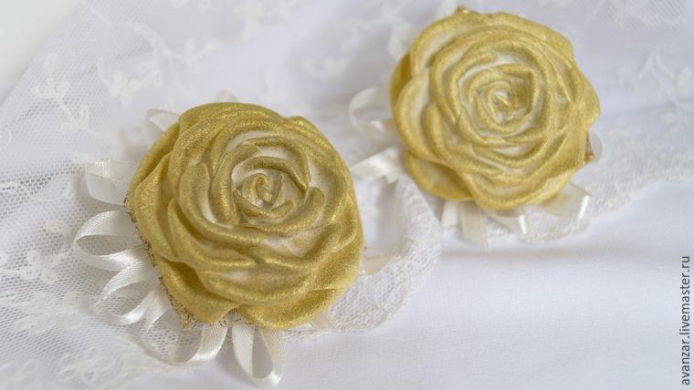 Создаем заколки с кружевом и золотыми розами из фоамирана, фото № 24