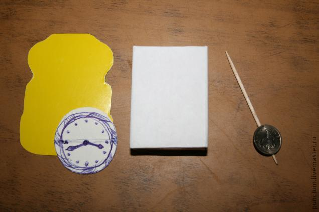 Часы-ходики из спичечного коробка в кукольный дом, фото № 2