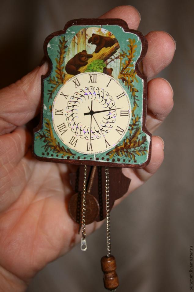 Часы-ходики из спичечного коробка в кукольный дом, фото № 10