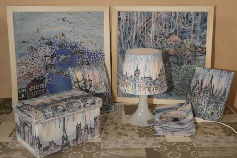 коллекция, декупаж, картина, пейзаж, интерьер