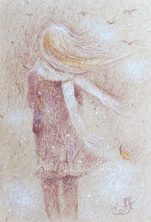 осень, пастельная картина