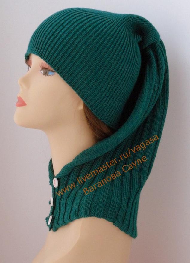 шапка, зеленый, для женщин, готовая работа, шапочка