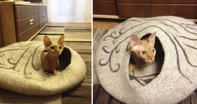 кошкин дом, дом для кота, дом шерстяной валяный, валяный кошкин дом, домик для собачки, дом для собаки, сфинкс, корниш рекс, йоркширский терьер