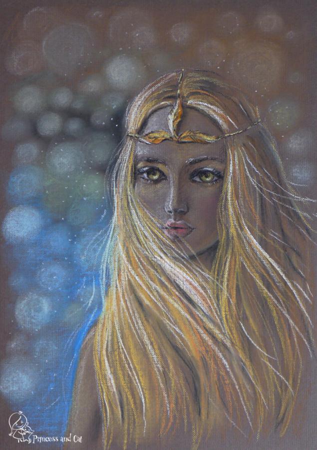 картина пастелью, красивая девушка