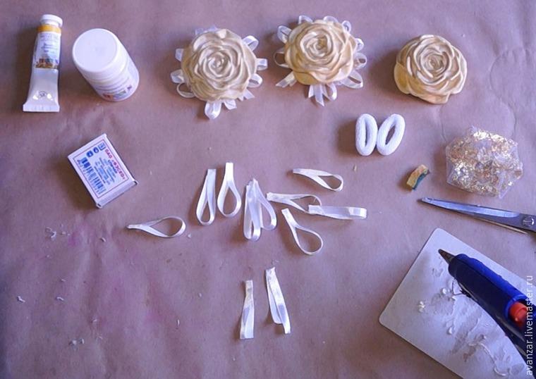 Создаем заколки с кружевом и золотыми розами из фоамирана, фото № 18