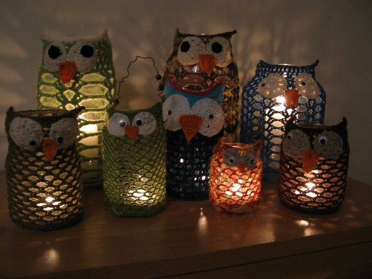Good Ideas For You | Crochet Owl To Decorate Mason Jars - no pattern - photo only