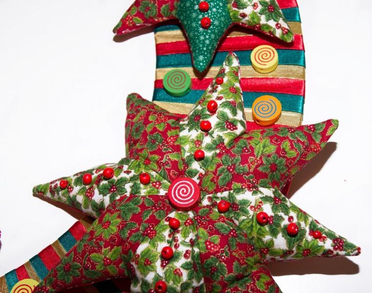 рождественский венок, лоскутное шитье ткань