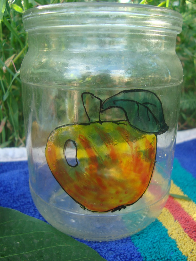 реальная ярмарка, роспись по стеклу, банка с фруктами