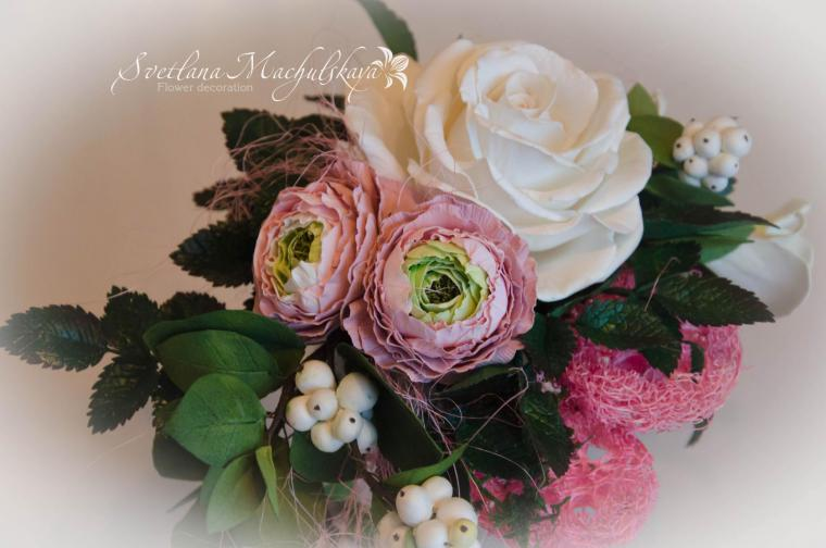 Композиция цветов из фоамирана мастер класс с пошаговым