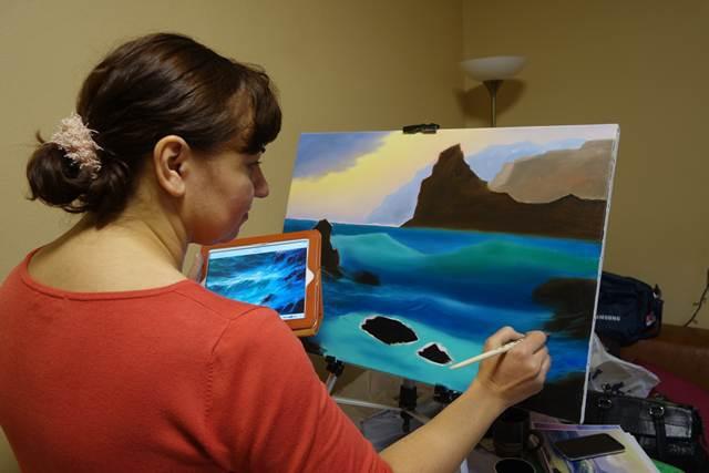 морской пейзаж, рисование для начинающих