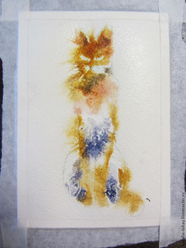 дикие кошки, мастер-класс по акварели, живопись акварелью